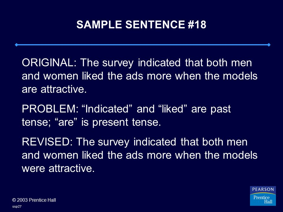 © 2003 Prentice Hall ssp27 SAMPLE SENTENCE #18 ORIGINAL: The survey indicated that both men and women liked the ads more when the models are attractive.