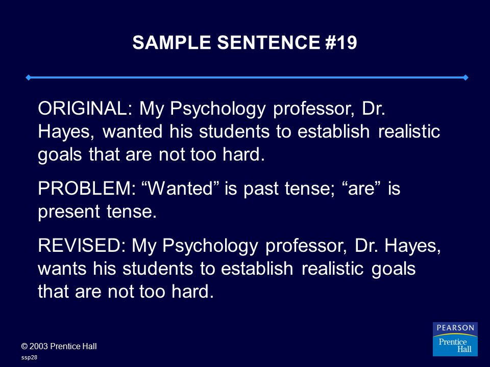 © 2003 Prentice Hall ssp28 SAMPLE SENTENCE #19 ORIGINAL: My Psychology professor, Dr. Hayes, wanted his students to establish realistic goals that are