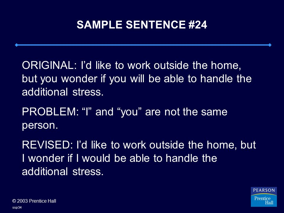 © 2003 Prentice Hall ssp34 SAMPLE SENTENCE #24 ORIGINAL: I'd like to work outside the home, but you wonder if you will be able to handle the additional stress.
