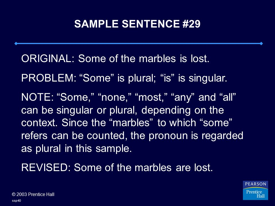 © 2003 Prentice Hall ssp40 SAMPLE SENTENCE #29 ORIGINAL: Some of the marbles is lost.