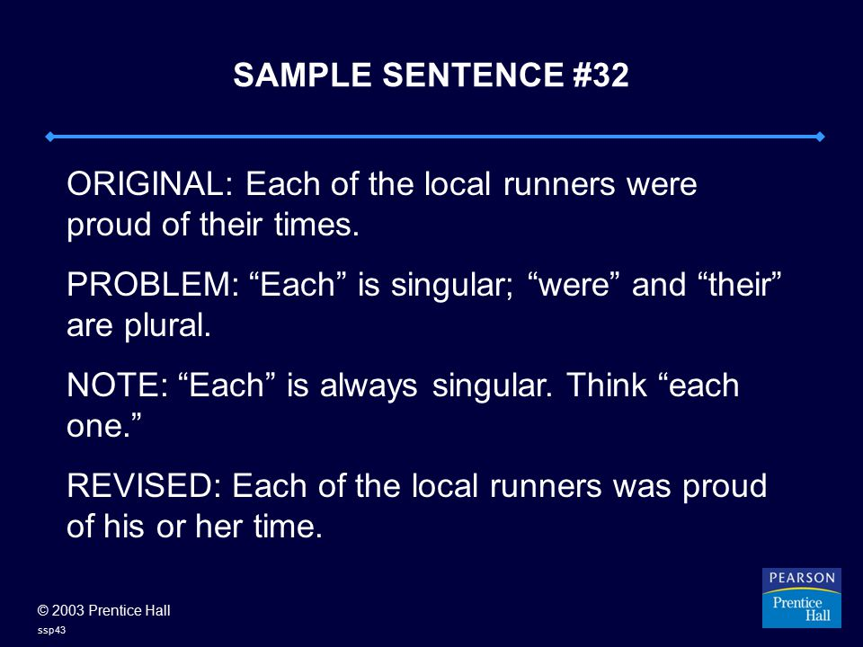 © 2003 Prentice Hall ssp43 SAMPLE SENTENCE #32 ORIGINAL: Each of the local runners were proud of their times.