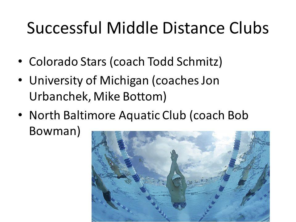 Successful Middle Distance Clubs Colorado Stars (coach Todd Schmitz) University of Michigan (coaches Jon Urbanchek, Mike Bottom) North Baltimore Aquatic Club (coach Bob Bowman)