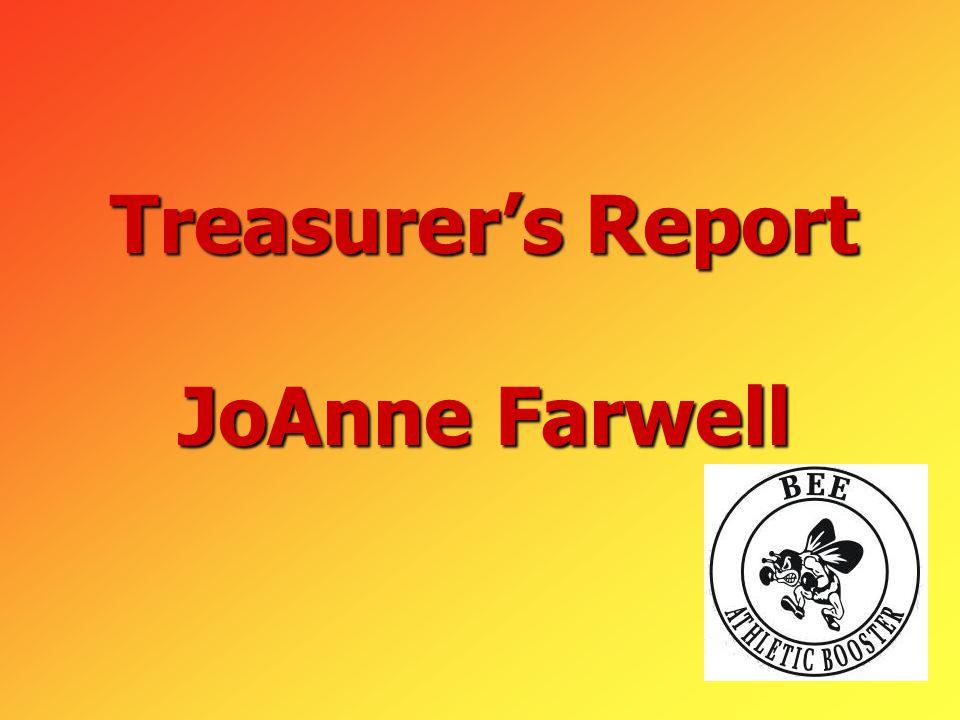 Treasurer's Report JoAnne Farwell