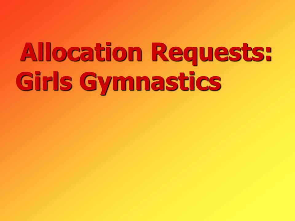 Allocation Requests: Girls Gymnastics