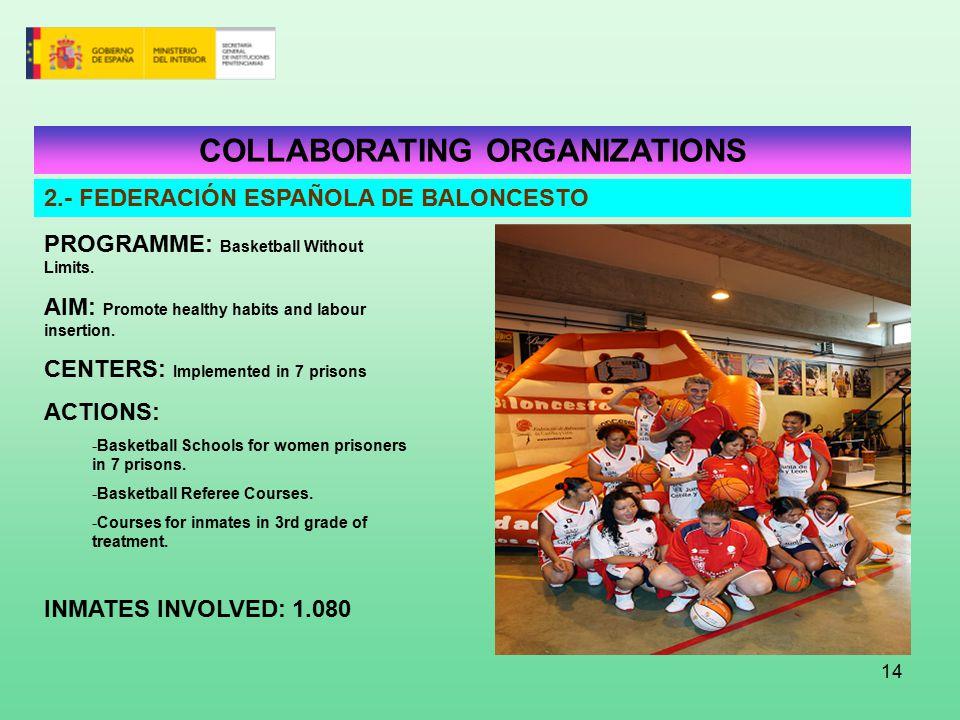 14 COLLABORATING ORGANIZATIONS 2.- FEDERACIÓN ESPAÑOLA DE BALONCESTO PROGRAMME: Basketball Without Limits.