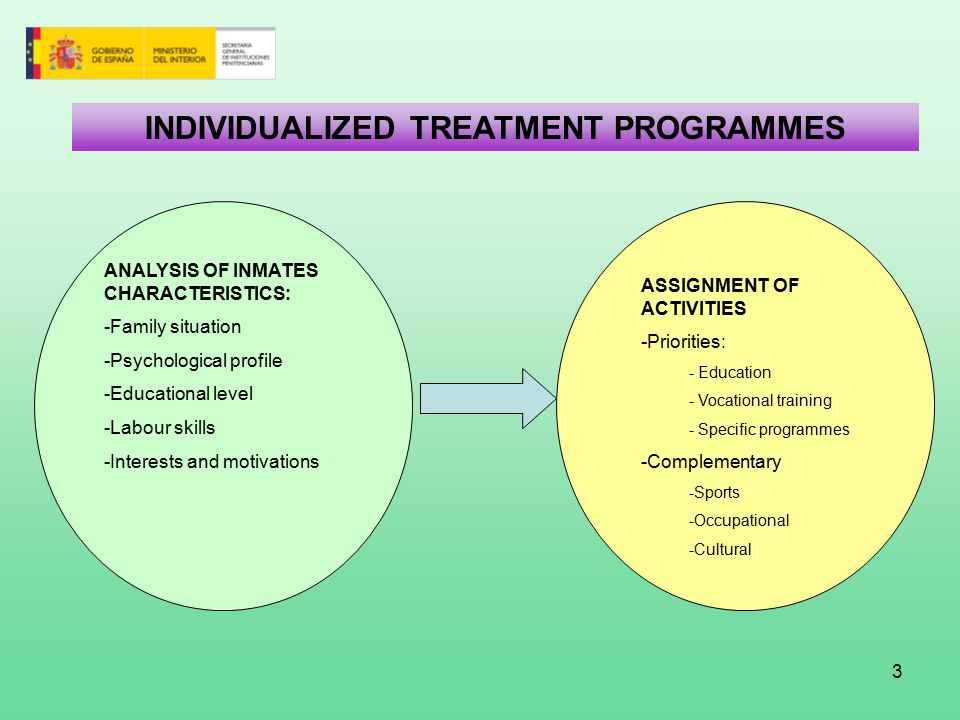 3 INDIVIDUALIZED TREATMENT PROGRAMMES ASSIGNMENT OF ACTIVITIES -Priorities: - Education - Vocational training - Specific programmes -Complementary -Sports -Occupational -Cultural ANALYSIS OF INMATES CHARACTERISTICS: -Family situation -Psychological profile -Educational level -Labour skills -Interests and motivations