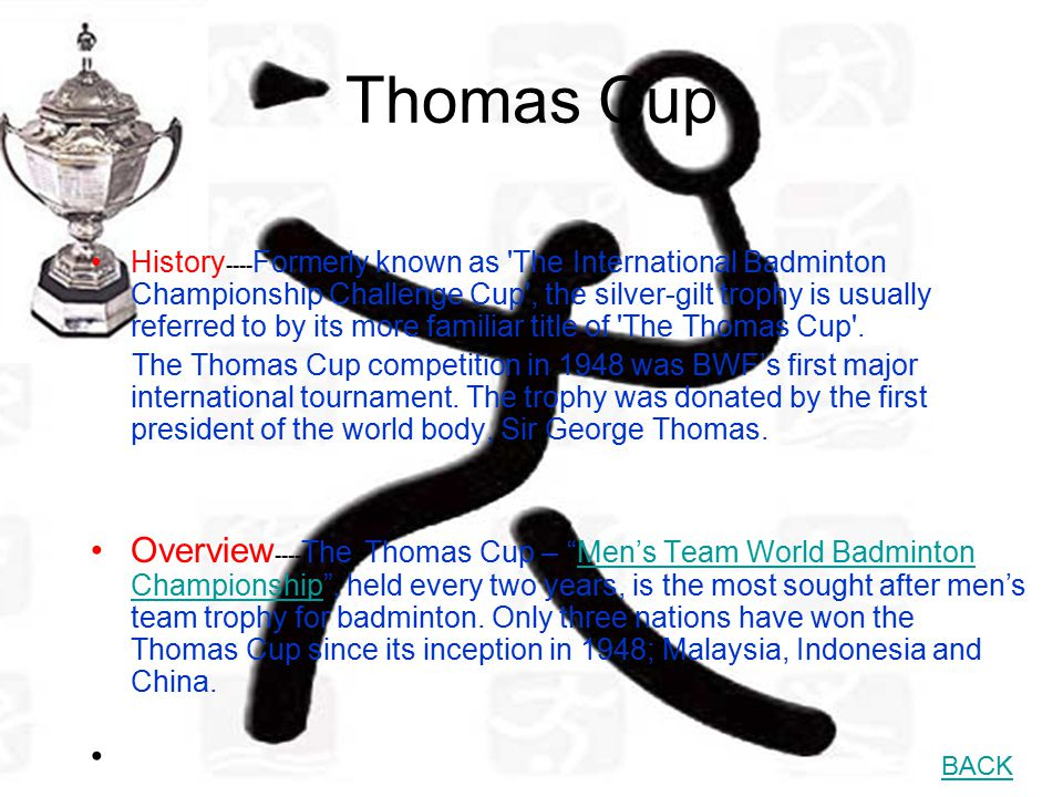 Uber Cup Brief History---- The idea of an international team competition for women along the lines of the Thomas Cup contest was first mooted early in 1950 when the BWF (then known as IBF) received the offer of a trophy from Mrs H S Uber.