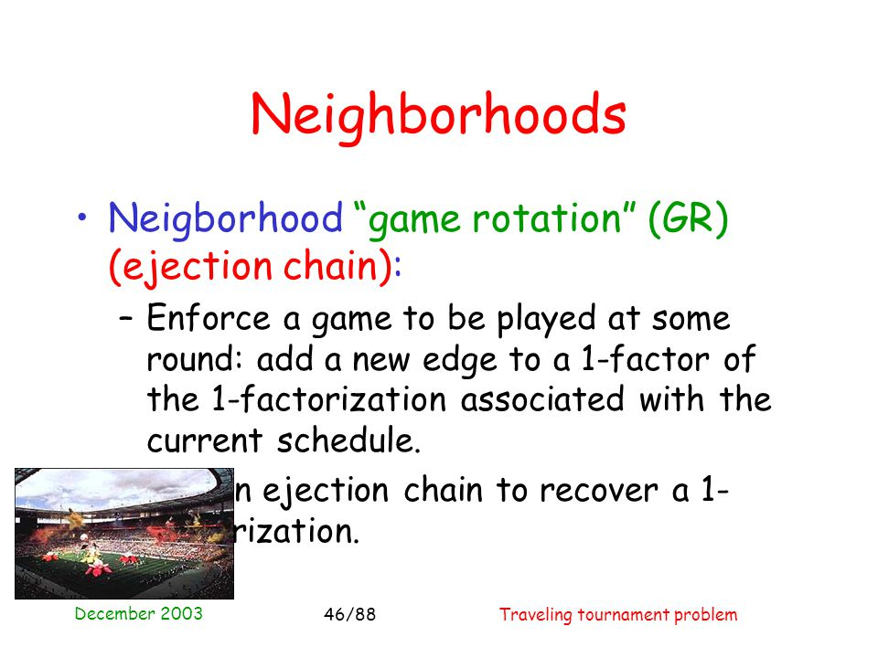 December 2003 Traveling tournament problem46/88 Neighborhoods Neigborhood game rotation (GR) (ejection chain): –Enforce a game to be played at some round: add a new edge to a 1-factor of the 1-factorization associated with the current schedule.