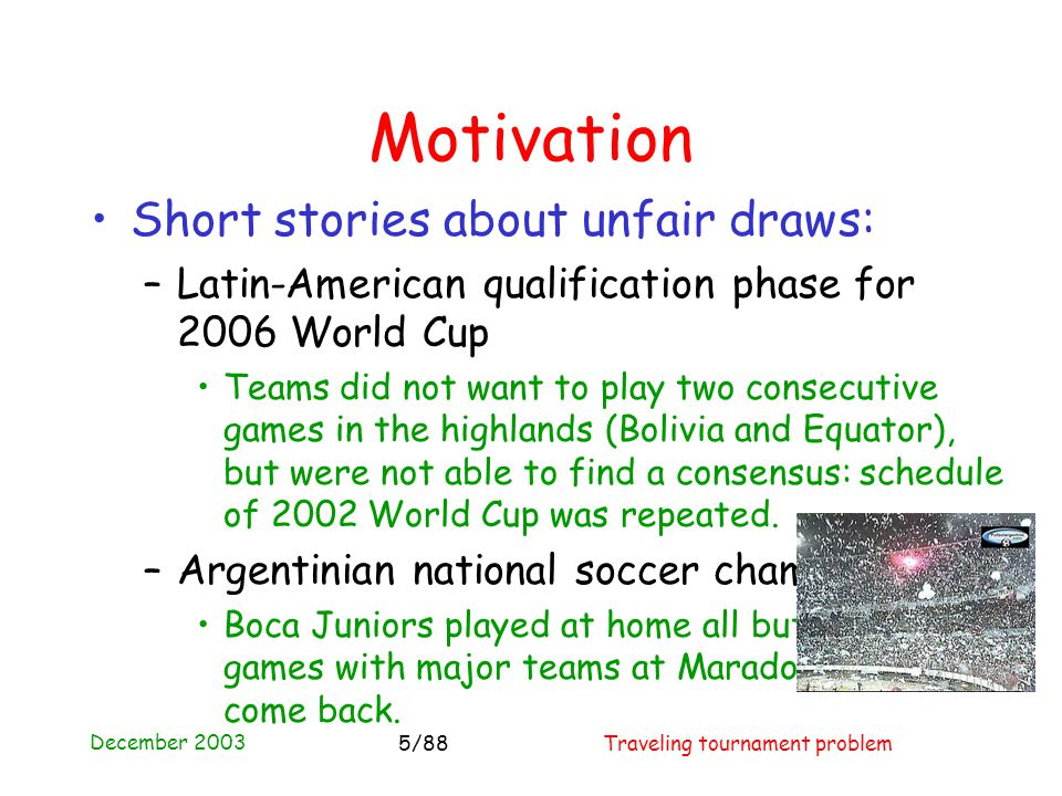 December 2003 Traveling tournament problem5/88 Motivation Short stories about unfair draws: – Latin-American qualification phase for 2006 World Cup Teams did not want to play two consecutive games in the highlands (Bolivia and Equator), but were not able to find a consensus: schedule of 2002 World Cup was repeated.