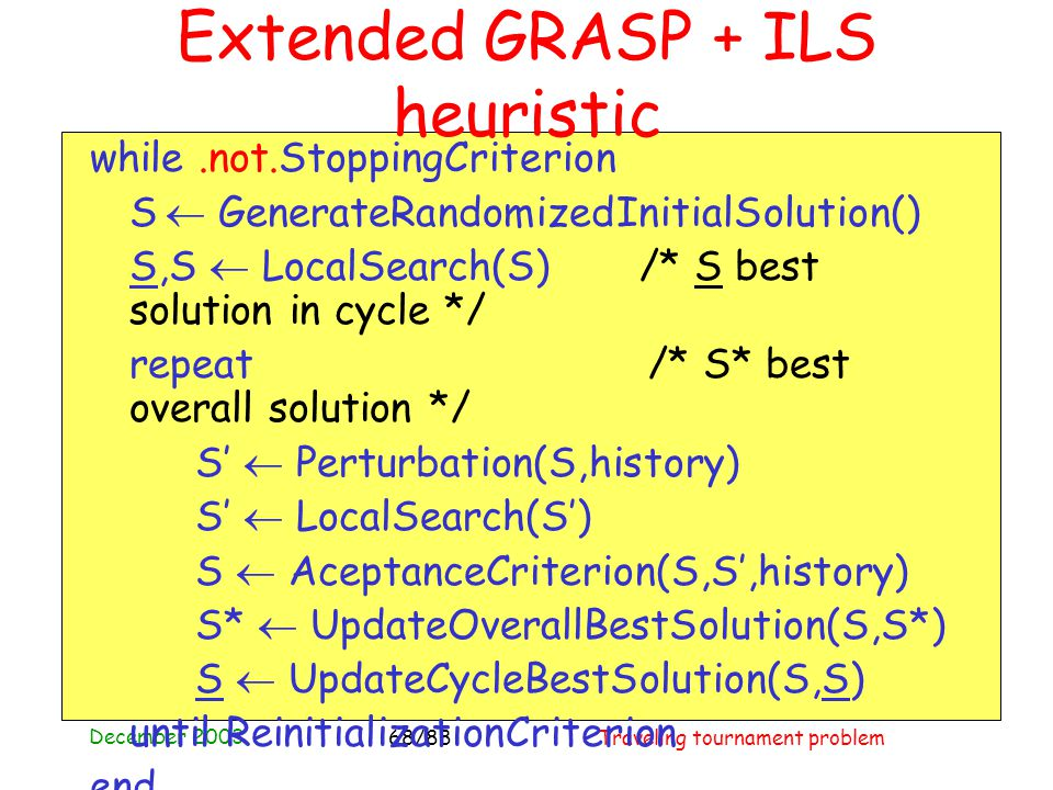 December 2003 Traveling tournament problem68/88 Extended GRASP + ILS heuristic while.not.StoppingCriterion S  GenerateRandomizedInitialSolution() S,S  LocalSearch(S) /* S best solution in cycle */ repeat /* S* best overall solution */ S'  Perturbation(S,history) S'  LocalSearch(S') S  AceptanceCriterion(S,S',history) S*  UpdateOverallBestSolution(S,S*) S  UpdateCycleBestSolution(S,S) until ReinitializationCriterion end