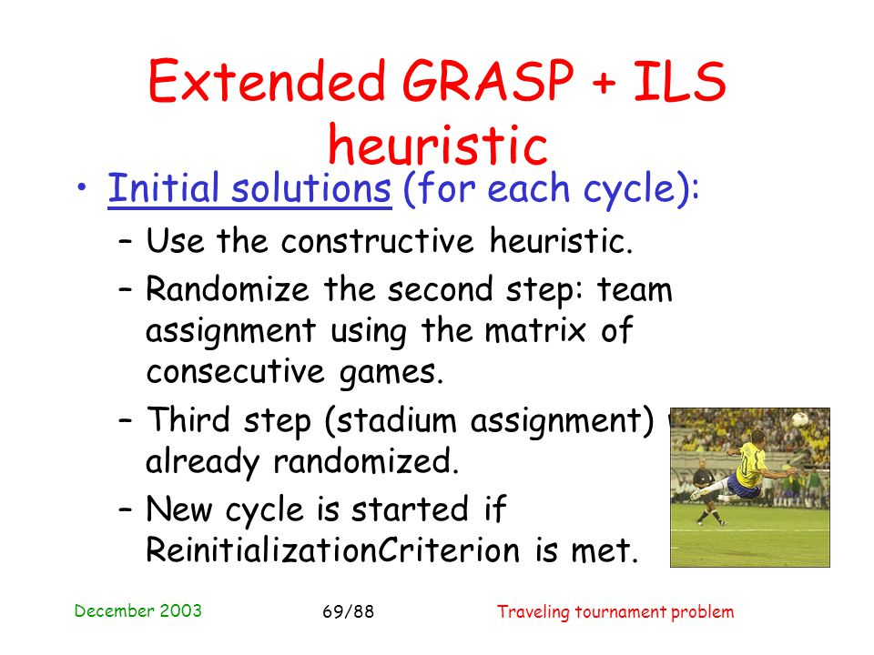 December 2003 Traveling tournament problem69/88 Extended GRASP + ILS heuristic Initial solutions (for each cycle): –Use the constructive heuristic. –R