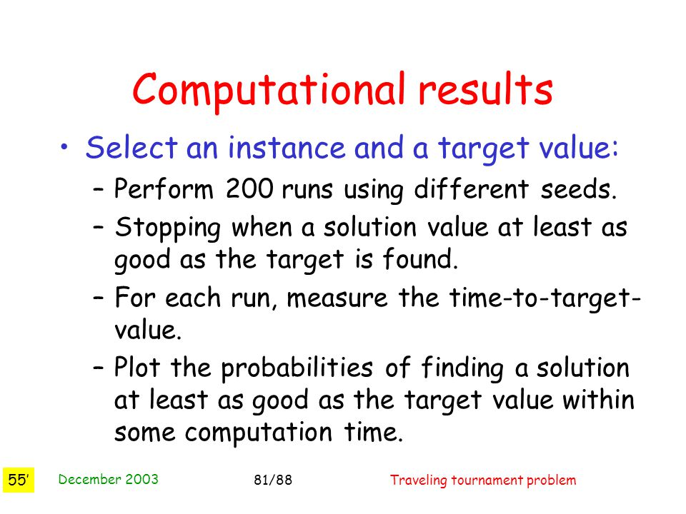 December 2003 Traveling tournament problem81/88 Computational results Select an instance and a target value: –Perform 200 runs using different seeds.