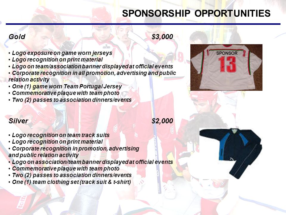 SPONSORSHIP OPPORTUNITIES Bronze$1,000 Prominent logo recognition on equipment bags Corporate recognition in promotion, advertising and public relation activity Commemorative plaque with team photo One (1) team t-shirt Merchandise We also accept product donations.