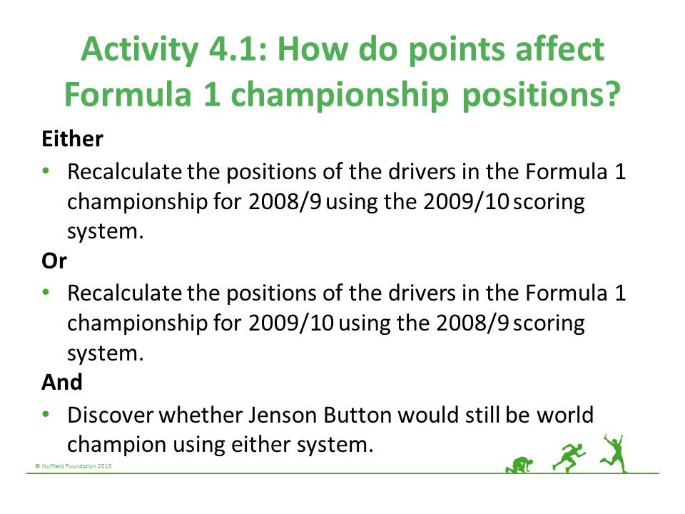© Nuffield Foundation 2010 Activity 4.1: How do points affect Formula 1 championship positions? Either Recalculate the positions of the drivers in the