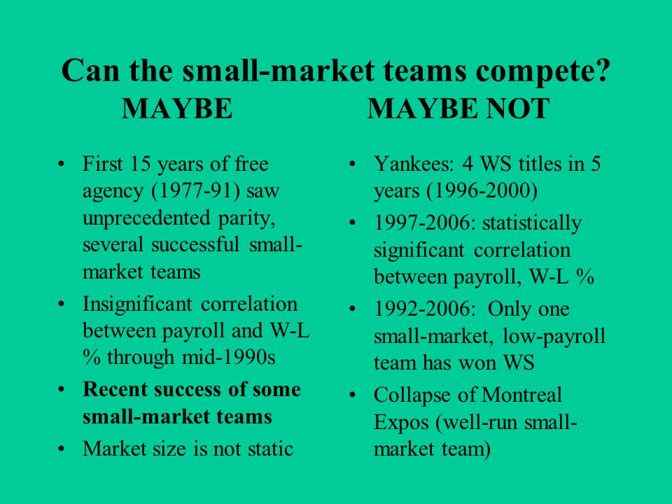 Can the small-market teams compete.