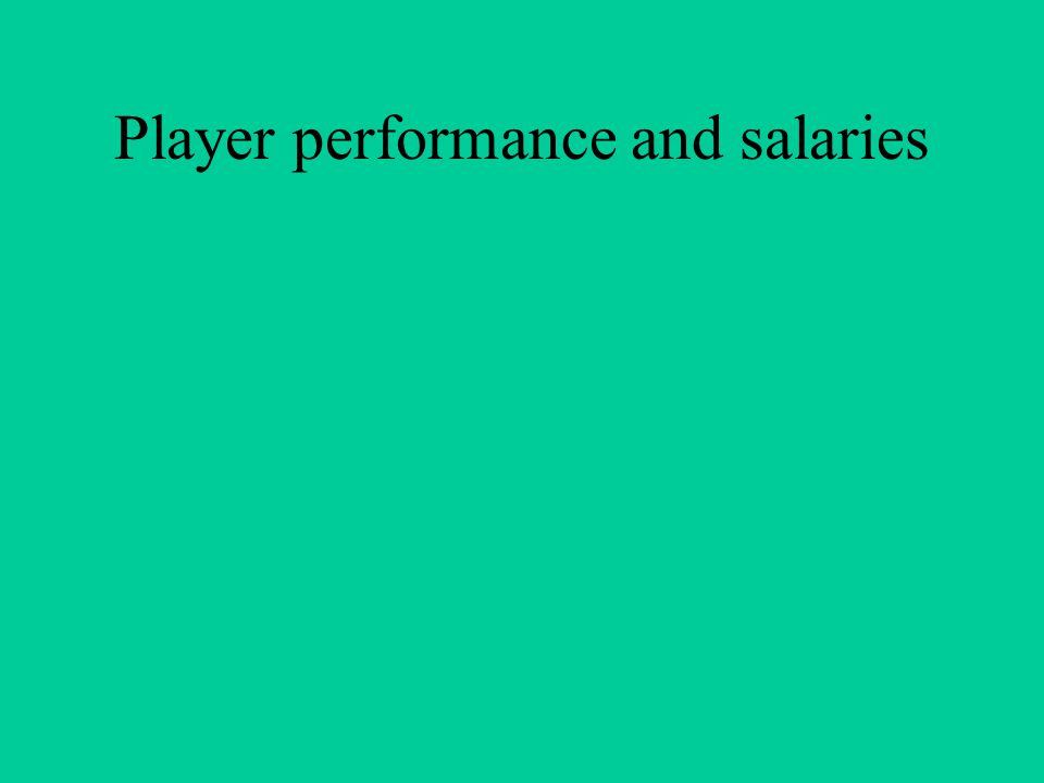 Player performance and salaries