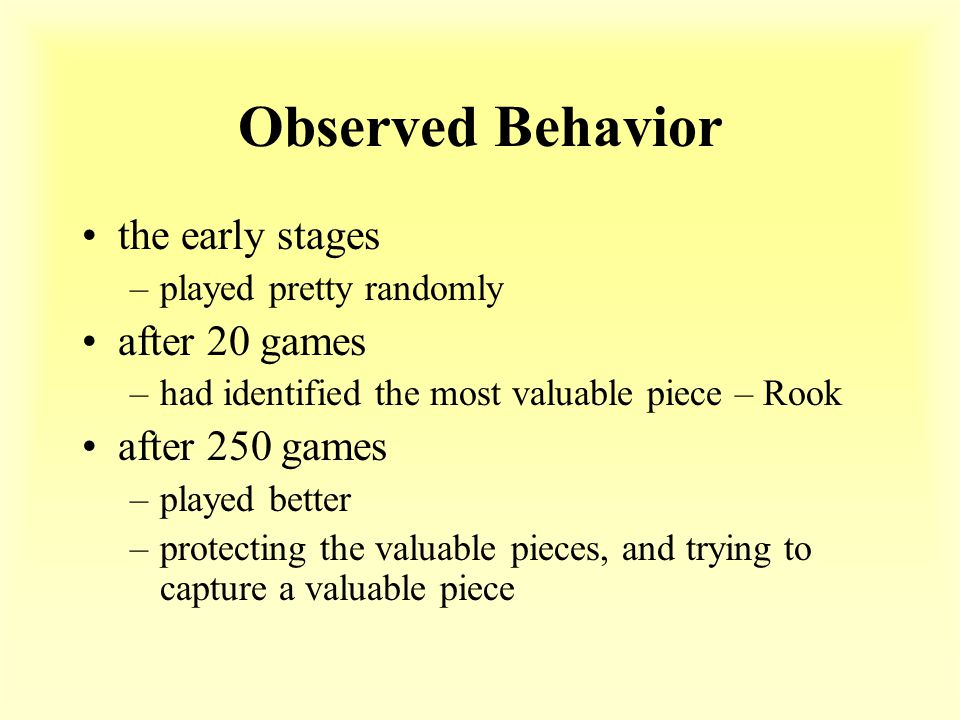 Observed Behavior the early stages –played pretty randomly after 20 games –had identified the most valuable piece – Rook after 250 games –played better –protecting the valuable pieces, and trying to capture a valuable piece