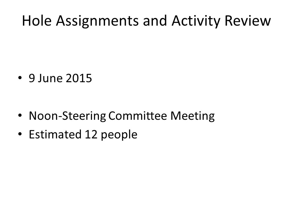 Hole Assignments and Activity Review 9 June 2015 Noon-Steering Committee Meeting Estimated 12 people