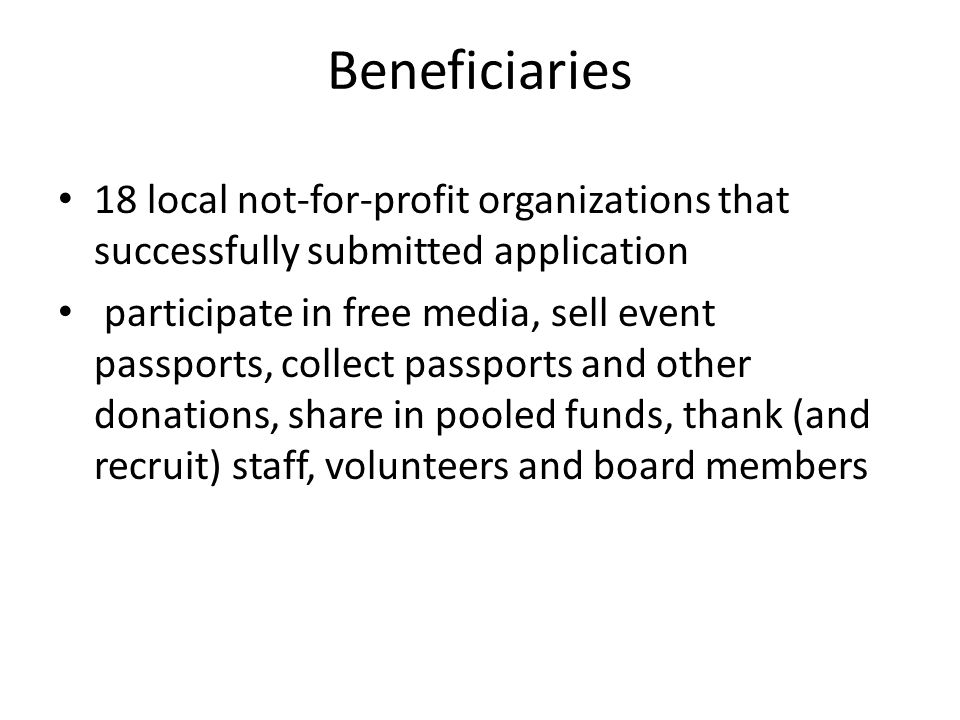 Beneficiaries 18 local not-for-profit organizations that successfully submitted application participate in free media, sell event passports, collect p