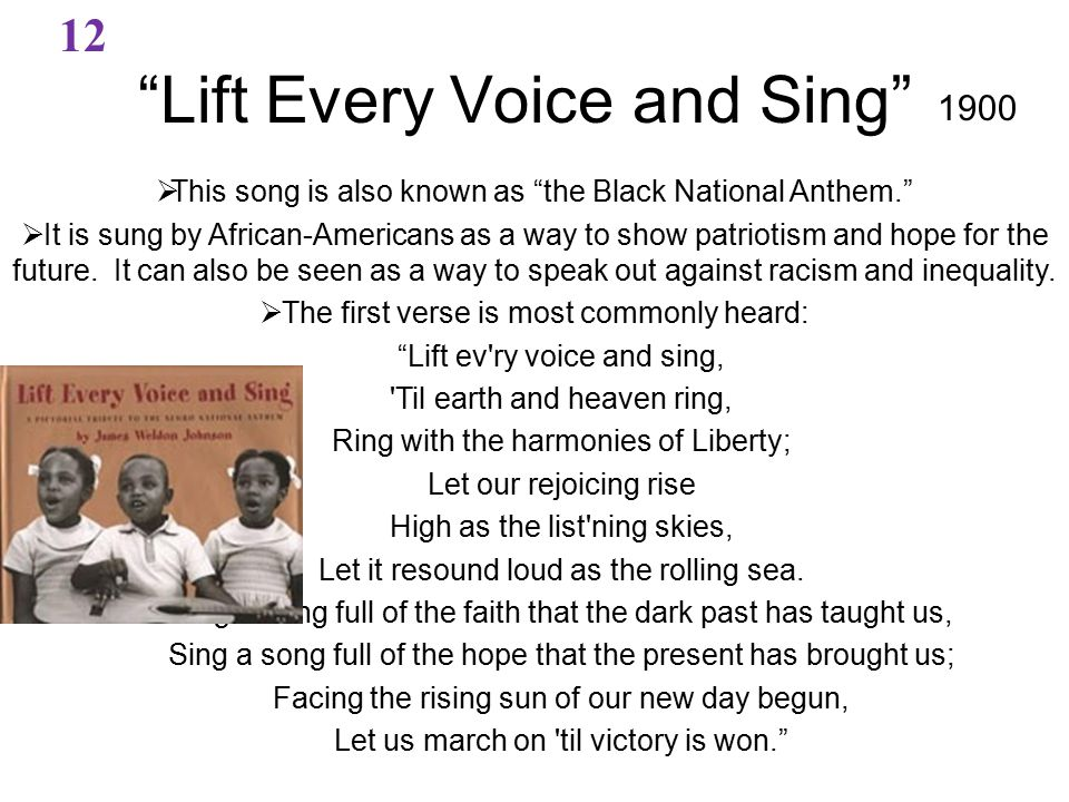  This song is also known as the Black National Anthem.  It is sung by African-Americans as a way to show patriotism and hope for the future.