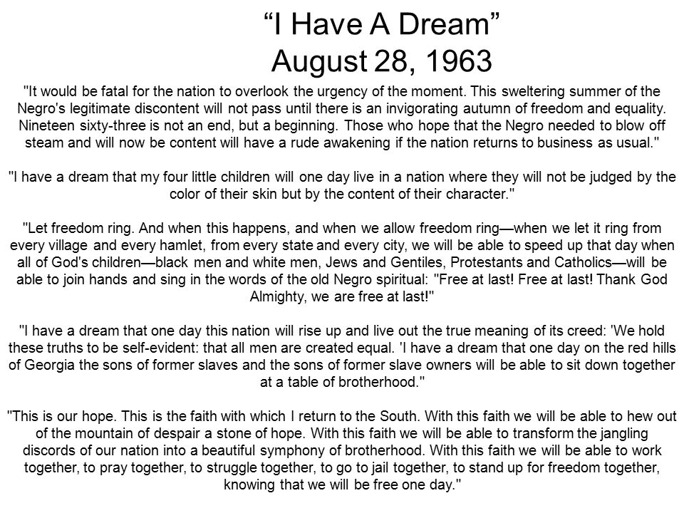I Have A Dream August 28, 1963 It would be fatal for the nation to overlook the urgency of the moment.