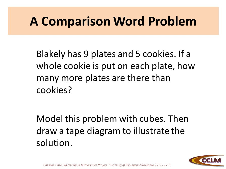 Common Core Leadership in Mathematics Project, University of Wisconsin-Milwaukee, 2012 - 2013 A Comparison Word Problem Blakely has 9 plates and 5 coo