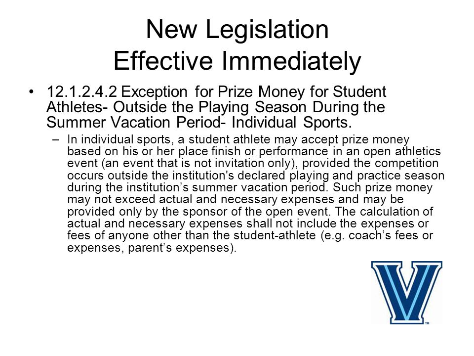 New Legislation Effective Immediately 13.02.11.2 Institutional Orientation Session –A recruited prospective student-athlete who has signed a NLI and has reported to an institutional orientation session that is open to all incoming students within 14 calendar days prior to the opening day of classes of a regular academic year term shall not be subject to the contact restrictions of Bylaw 13 and shall be considered a student-athlete for purposed of Bylaw 16 as of the opening day of the orientation session.