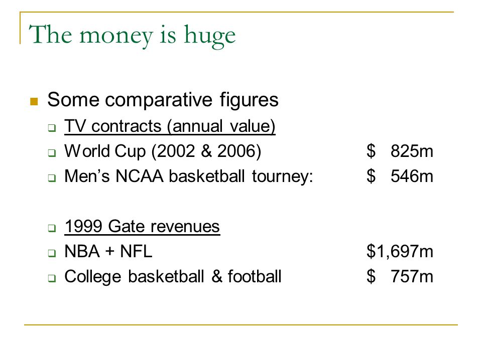 The money is huge Some comparative figures  TV contracts (annual value)  World Cup (2002 & 2006) $ 825m  Men's NCAA basketball tourney: $ 546m  1999 Gate revenues  NBA + NFL$1,697m  College basketball & football$ 757m