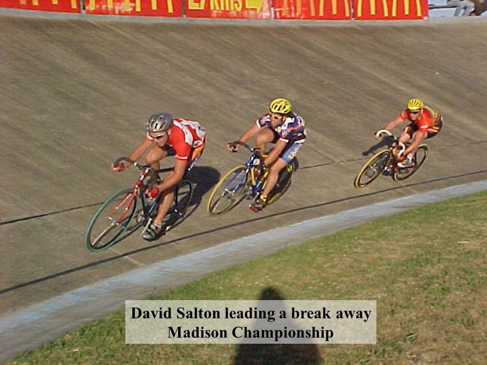David Salton leading a break away Madison Championship