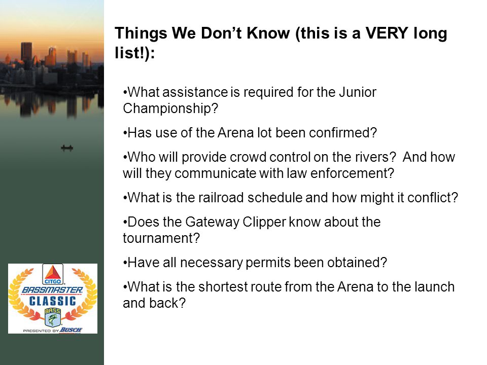 Things We Don't Know (this is a VERY long list!): What assistance is required for the Junior Championship.