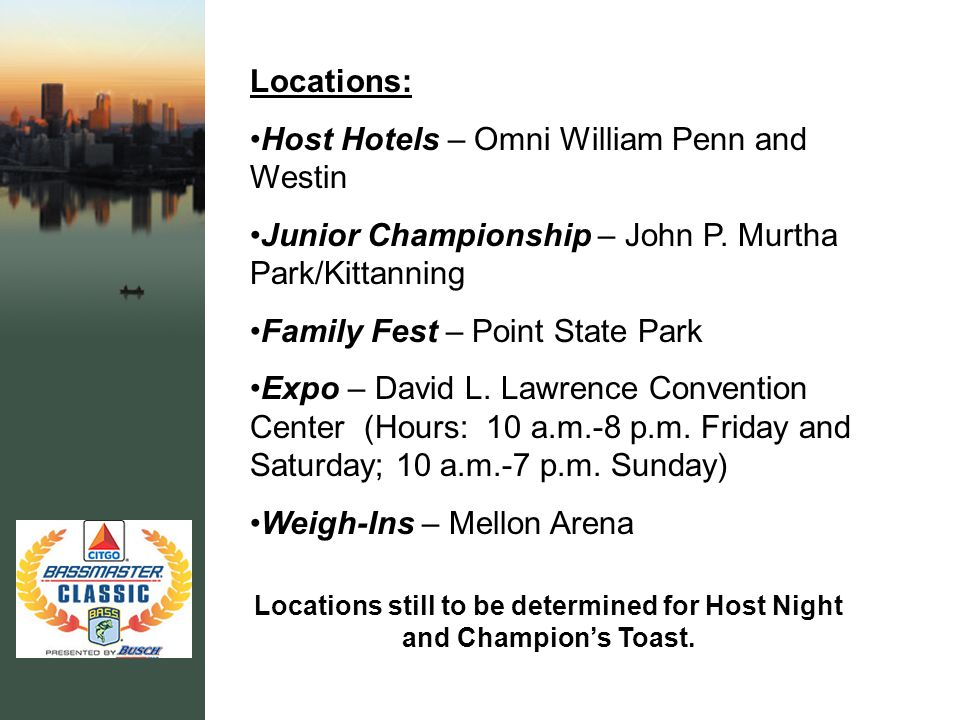 Locations: Host Hotels – Omni William Penn and Westin Junior Championship – John P.