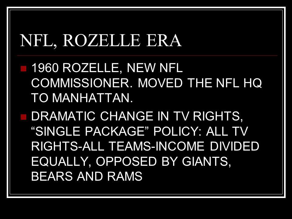 NFL, ROZELLE ERA 1960 ROZELLE, NEW NFL COMMISSIONER.