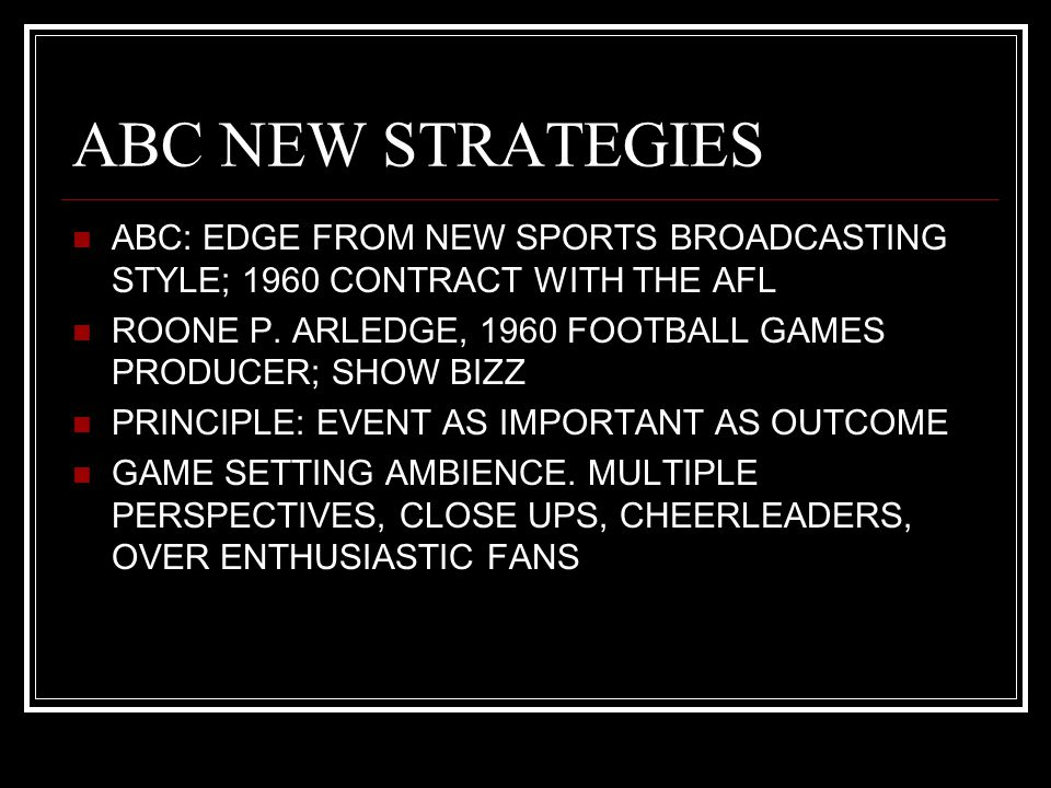 ABC NEW STRATEGIES ABC: EDGE FROM NEW SPORTS BROADCASTING STYLE; 1960 CONTRACT WITH THE AFL ROONE P.