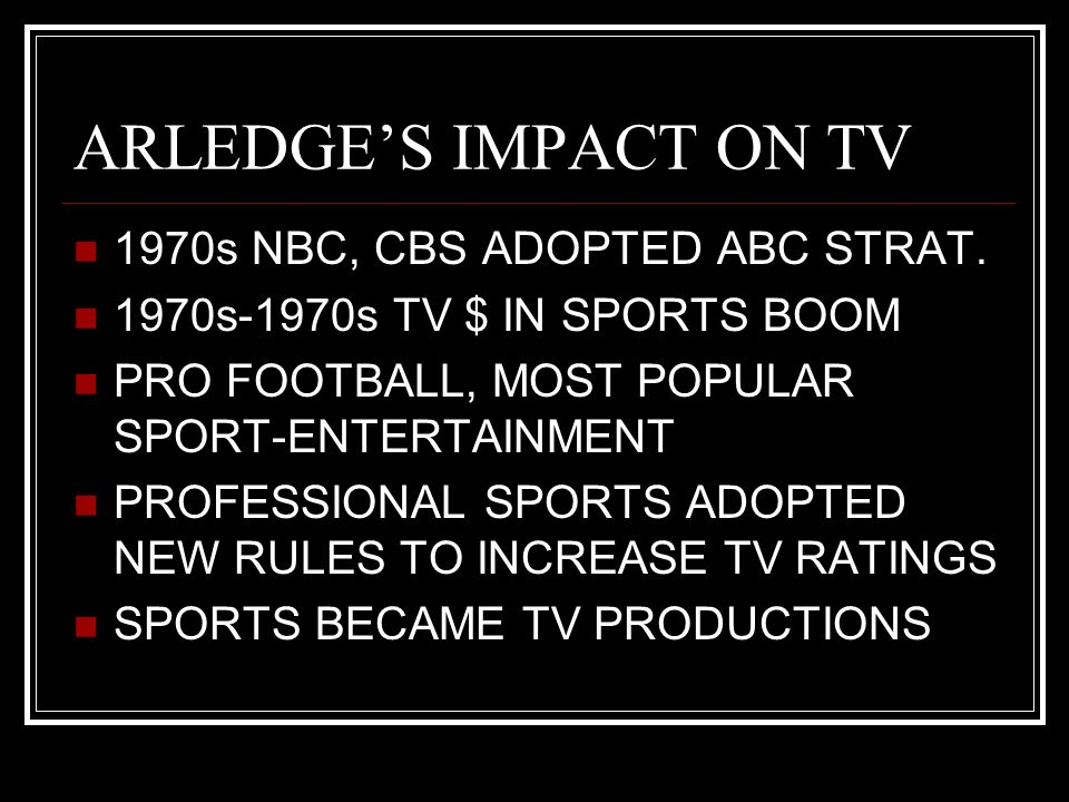 ARLEDGE'S IMPACT ON TV 1970s NBC, CBS ADOPTED ABC STRAT. 1970s-1970s TV $ IN SPORTS BOOM PRO FOOTBALL, MOST POPULAR SPORT-ENTERTAINMENT PROFESSIONAL S