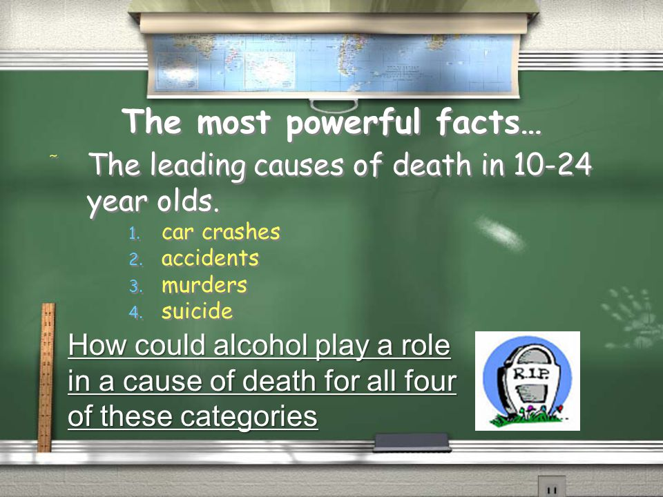 The most powerful facts… / The leading causes of death in 10-24 year olds. 1. car crashes 2. accidents 3. murders 4. suicide / The leading causes of d