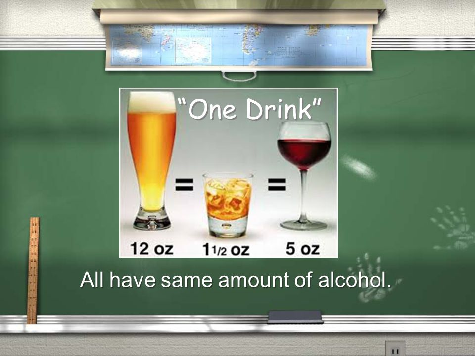 """One Drink"" All have same amount of alcohol. ""One Drink"""