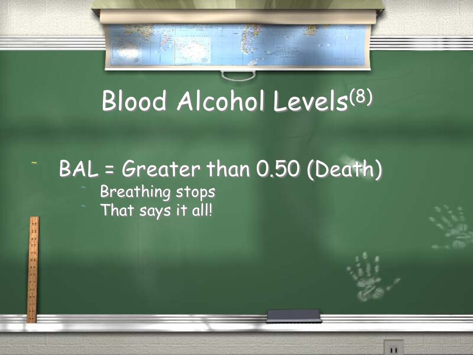 Blood Alcohol Levels (8) / BAL = Greater than 0.50 (Death) / Breathing stops / That says it all! / BAL = Greater than 0.50 (Death) / Breathing stops /
