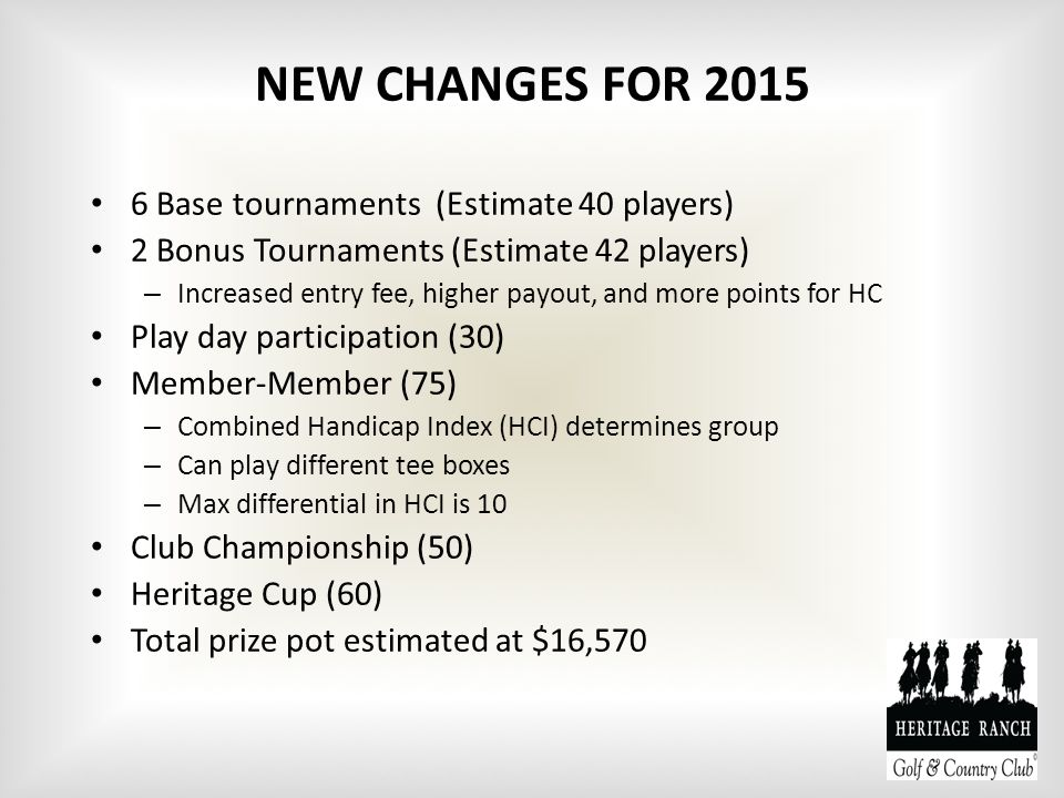 NEW CHANGES FOR 2015 6 Base tournaments (Estimate 40 players) 2 Bonus Tournaments (Estimate 42 players) – Increased entry fee, higher payout, and more points for HC Play day participation (30) Member-Member (75) – Combined Handicap Index (HCI) determines group – Can play different tee boxes – Max differential in HCI is 10 Club Championship (50) Heritage Cup (60) Total prize pot estimated at $16,570