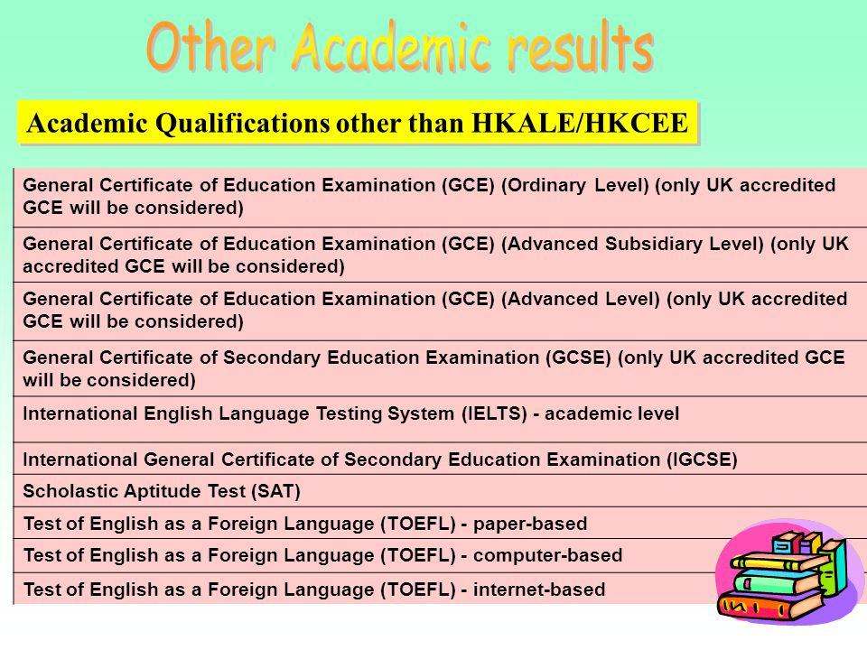 General Certificate of Education Examination (GCE) (Ordinary Level) (only UK accredited GCE will be considered) General Certificate of Education Exami
