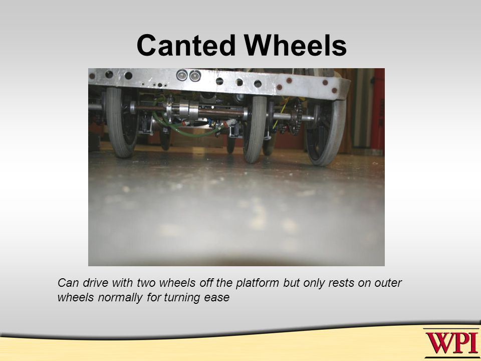 Canted Wheels Can drive with two wheels off the platform but only rests on outer wheels normally for turning ease