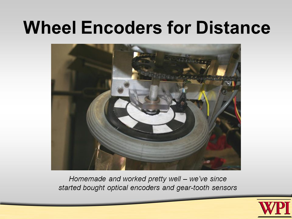 Wheel Encoders for Distance Homemade and worked pretty well – we've since started bought optical encoders and gear-tooth sensors