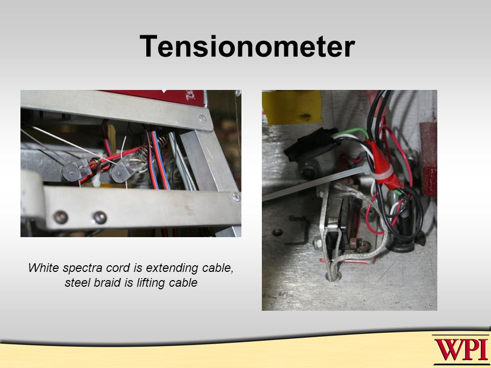 Tensionometer White spectra cord is extending cable, steel braid is lifting cable