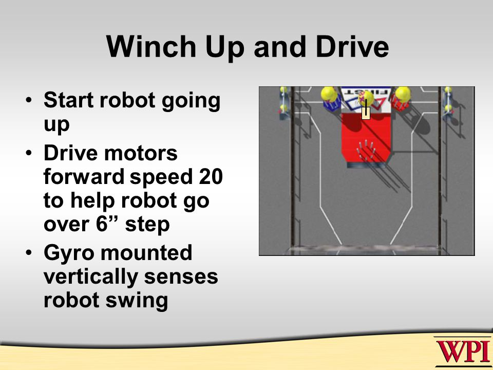 Winch Up and Drive Start robot going up Drive motors forward speed 20 to help robot go over 6 step Gyro mounted vertically senses robot swing