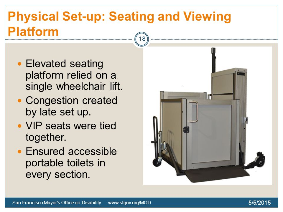 Physical Set-up: Seating and Viewing Platform Elevated seating platform relied on a single wheelchair lift.