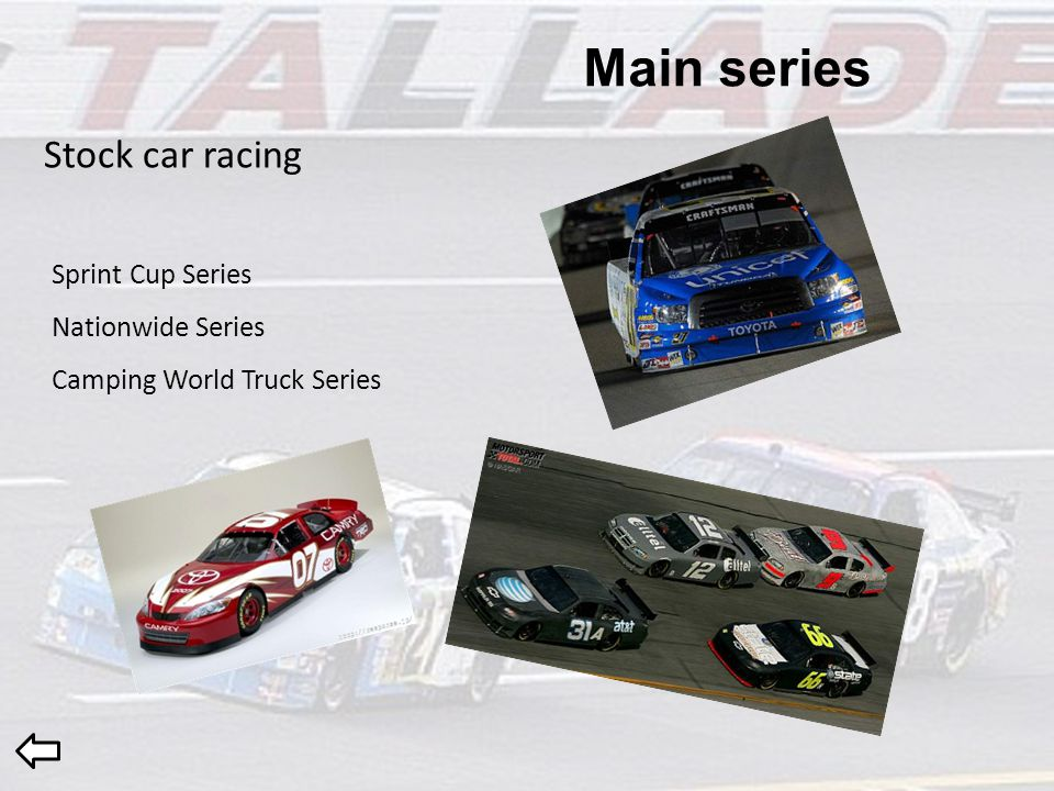 Main series Stock car racing Sprint Cup Series Nationwide Series Camping World Truck Series