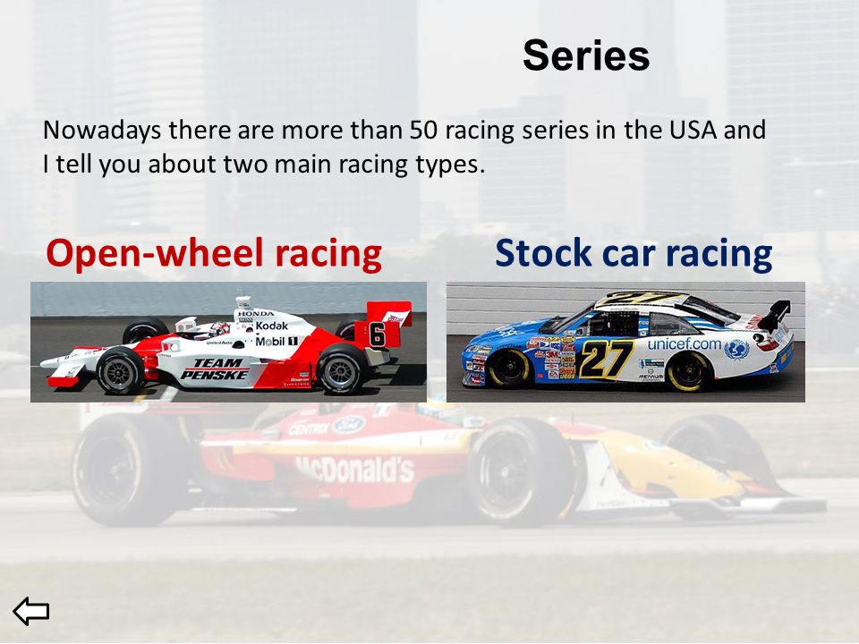 Open Wheel RacingStock Car Racing Nowadays There Are More Than 50 Racing  Series In The