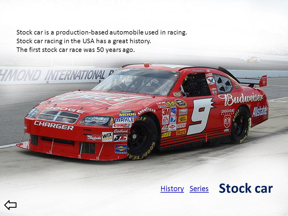 History 1902 - American Automobile Association was founded 1909 – first racing competitions 1916 – first championship 1955 – United States Automobile Club was founded 1979 – Championship Auto Racing Teams was founded Open-wheel racing 1996 – Indy Racing League was founded 2008 – ChampCar and IRL were merged 2003 - CART was renamed to ChampCar 1979-1996 – CART Indycar World Series 1955-1979 – USAC National Championship 1996-2003 – CART FedEx Championship 2003-2008 – ChampCar World Series 1996-2008 – IRL Series Since 2008 – Indycar Series