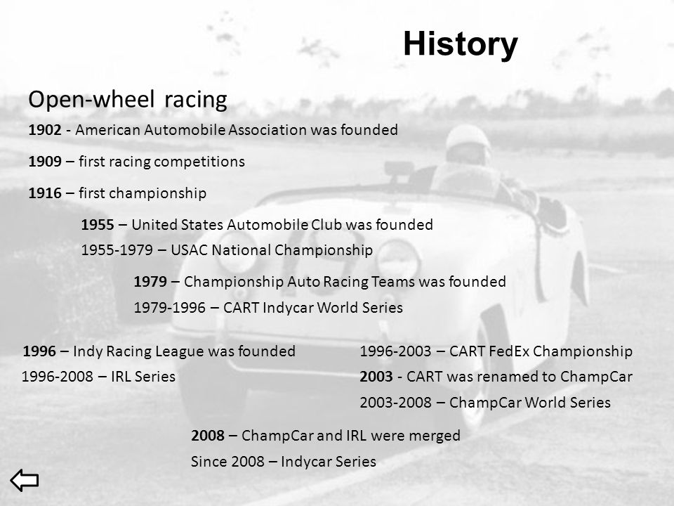 History 1902 - American Automobile Association was founded 1909 – first racing competitions 1916 – first championship 1955 – United States Automobile
