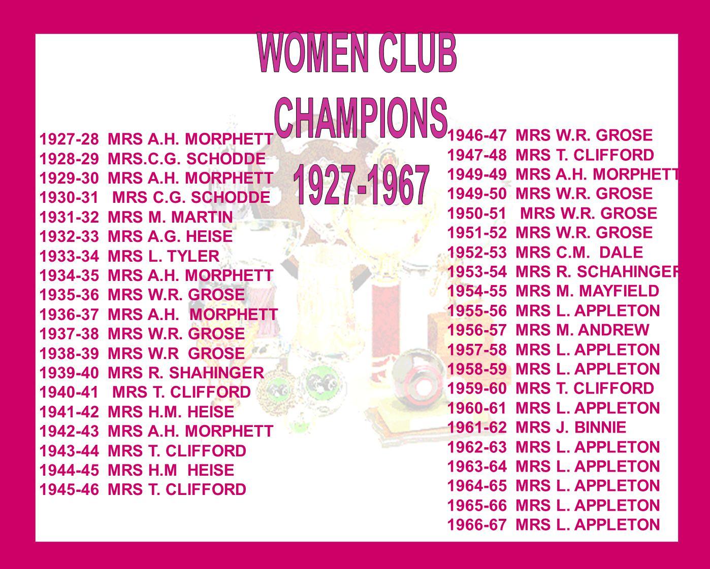 1927-28 MRS A.H. MORPHETT 1928-29 MRS.C.G. SCHODDE 1929-30 MRS A.H. MORPHETT 1930-31 MRS C.G. SCHODDE 1931-32 MRS M. MARTIN 1932-33 MRS A.G. HEISE 193