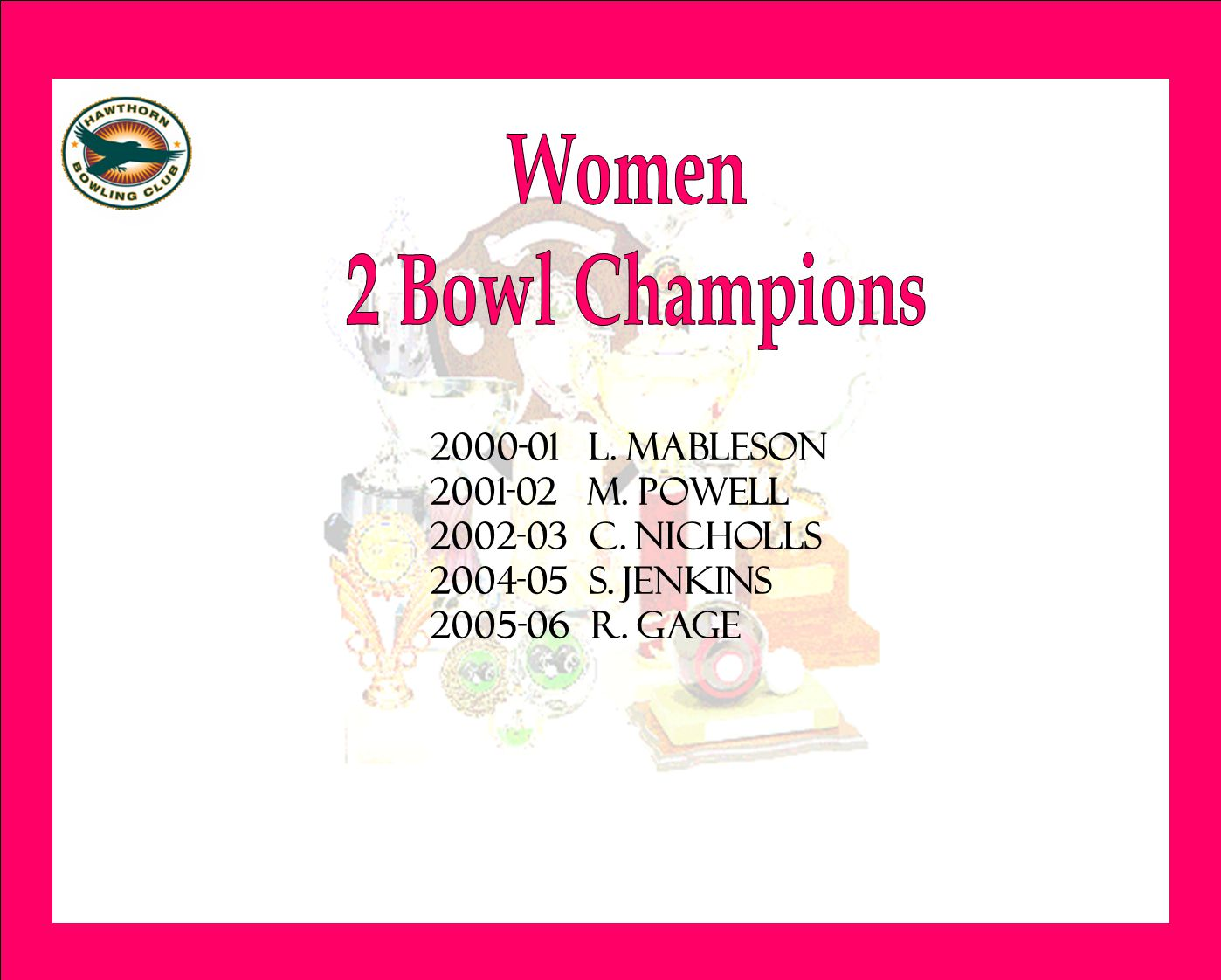 2000-01 l. mableson 2001-02 m. powell 2002-03 c. nicholls 2004-05 s. jenkins 2005-06 r. gage